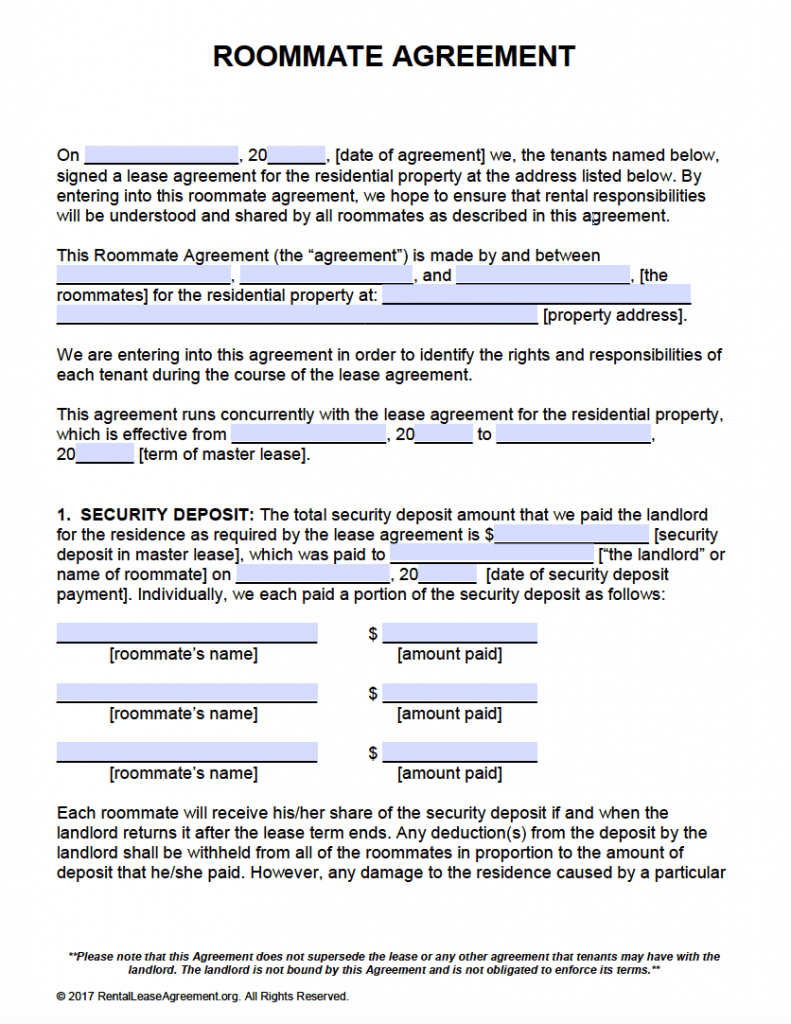 Free roommate agreement template form adobe pdf ms word for Roommate agreement template free