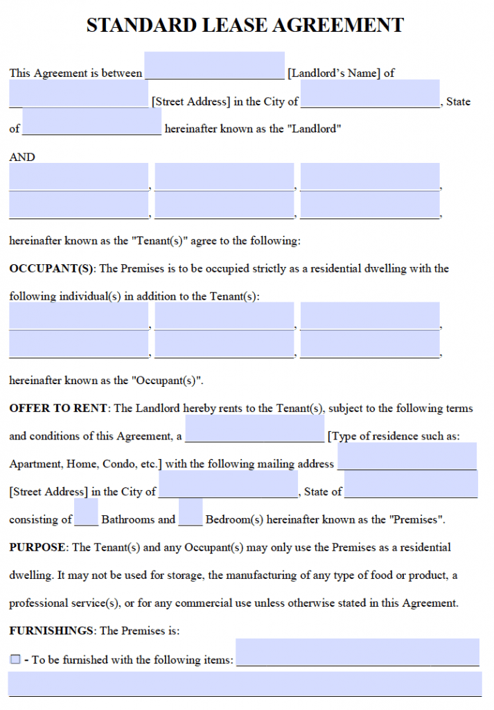 Free Residential Lease Agreements PDF and Word Templates – Landlord Lease Agreement Tempalte