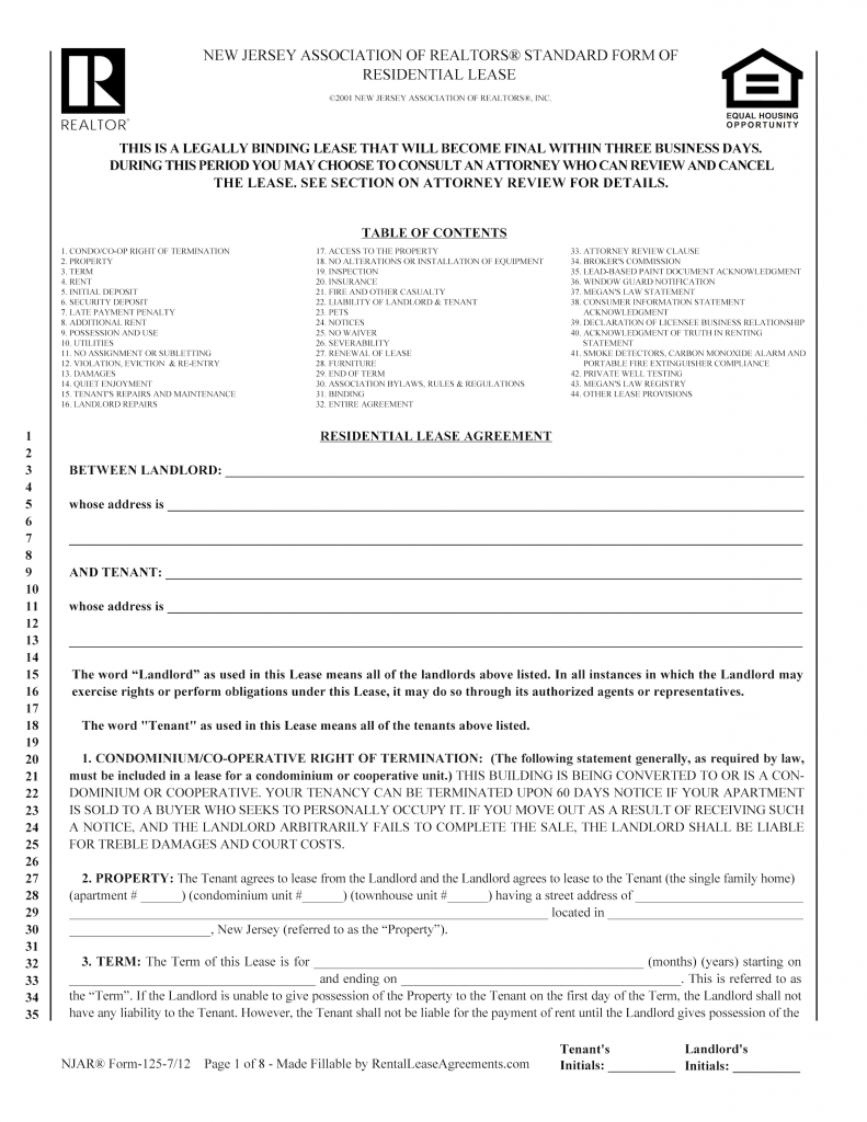residential lease agreement nj Free New Jersey Residential Lease Agreement – PDF – Word