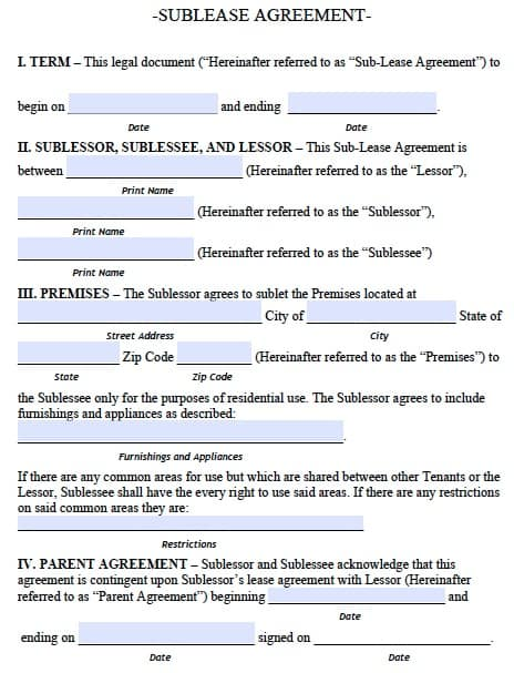 Free Alaska Sublease Agreement Form – Pdf Template