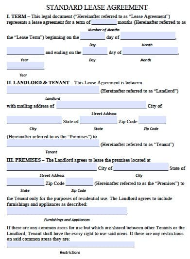 Lease Agreement Example. Property Rent Lease Agreement Form