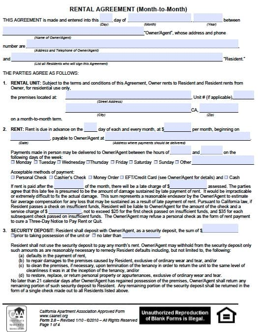 California Month To Month Rental Agreement Form