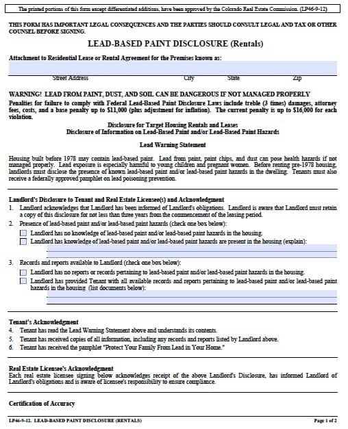 Free colorado lead based paint disclosure form pdf template colorado lead based paint disclosure lp46 9 12 platinumwayz
