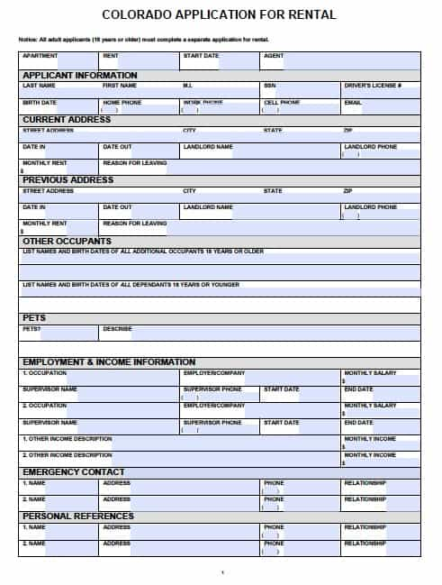 Free Colorado Rental Application PDF Template – Printable Lease Form