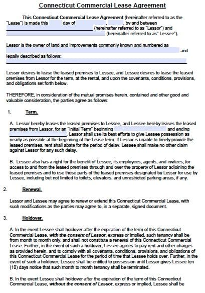 Free Connecticut Commercial Lease Agreement Template  Pdf  Word