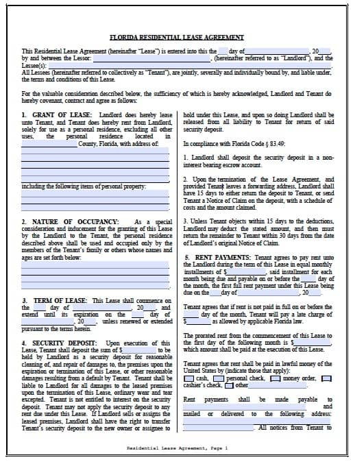 Free Florida Residential Lease Agreement PDF Template – Apartment Lease Agreement