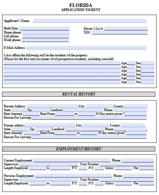 Free Florida Rental Application  Pdf Template