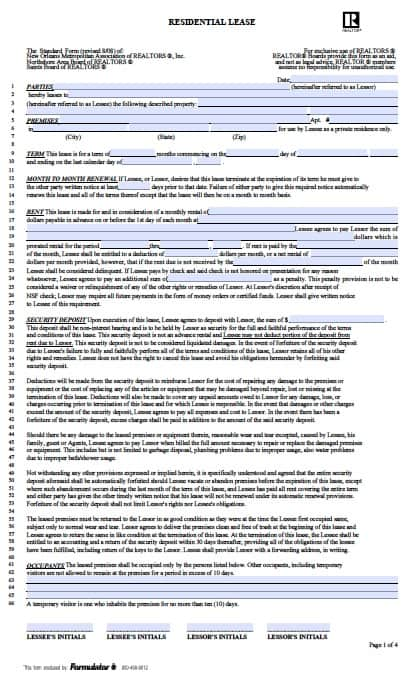 Free Louisiana Monthly Rental Agreement  Pdf Template