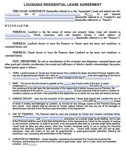 Free Louisiana Residential Lease Agreement  Pdf Template
