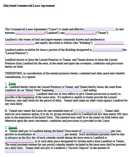 maryland will template - free maryland commercial lease agreement form pdf template