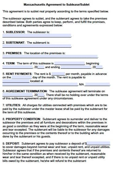 Free Massachusetts Sublease Agreement Form – Pdf Template