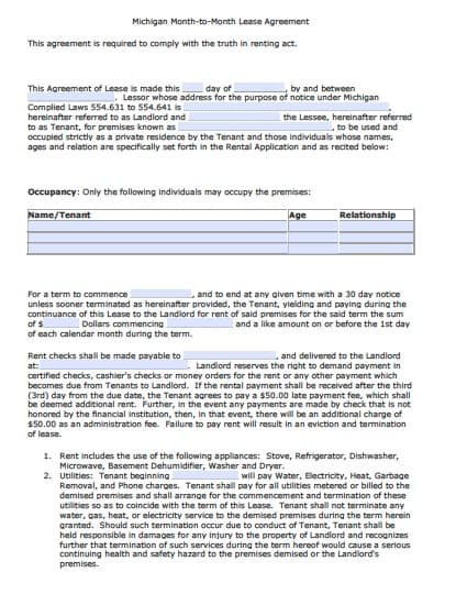 Free Michigan Month To Month Rental Agreement  Pdf  Word