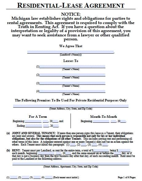 Free Michigan One 1 Year Residential Lease Agreement PDF Template – Sample of a Lease Agreement