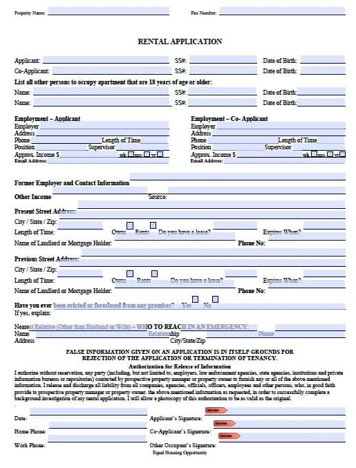 Rent Application Form  KakTakTk