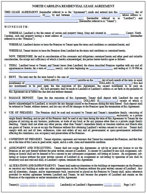 Free North Carolina Standard Residential Lease Agreement  Pdf Template