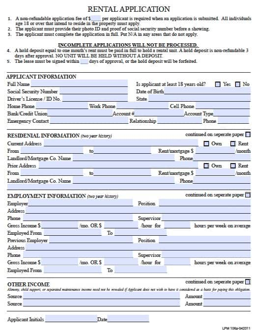 Free Pennsylvania Rental Application Form   Template