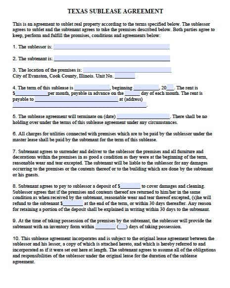 Free Texas Sublease Agreement Form Template Adobe PDF – Sample Office Lease Agreement Template