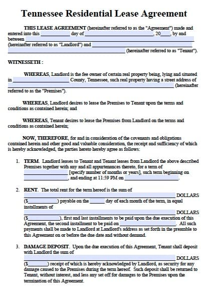 Free Tennessee Residential Lease Agreement Form   Template
