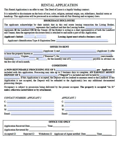 rental lease agreement forms