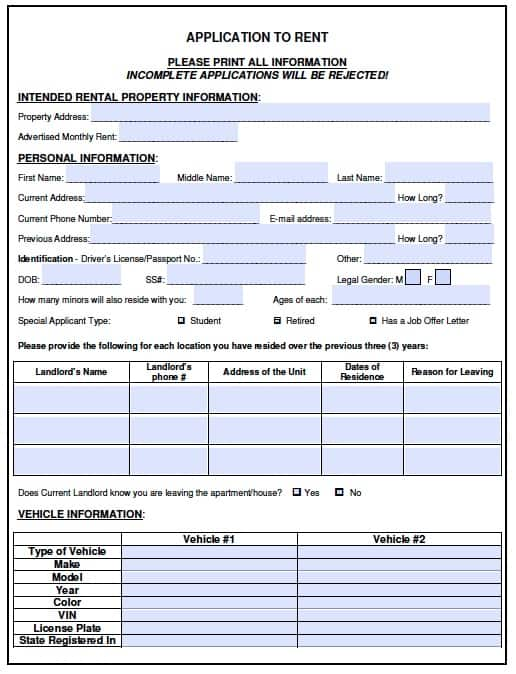 Free Vermont Rental Application Form  Pdf Template