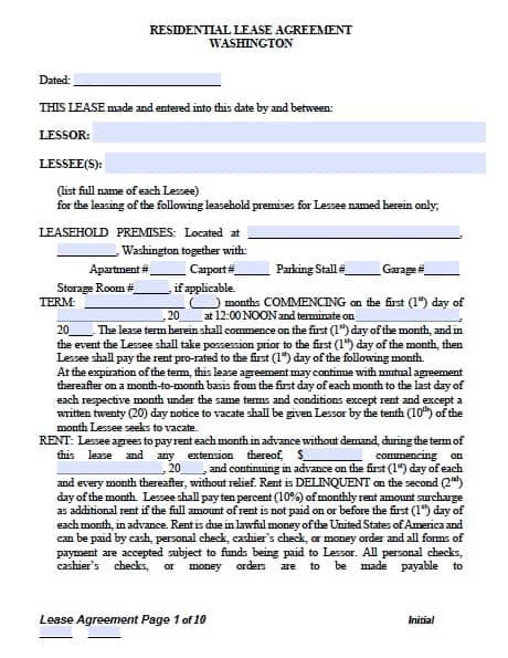 Free Washington Standard Residential Lease Agreement  Pdf Template