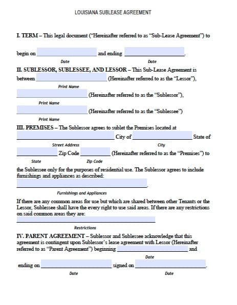 Free Louisiana Sublease Agreement Form PDF Template – Sublet Template