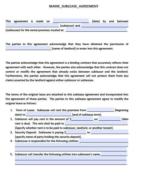 free maine sublease agreement pdf template
