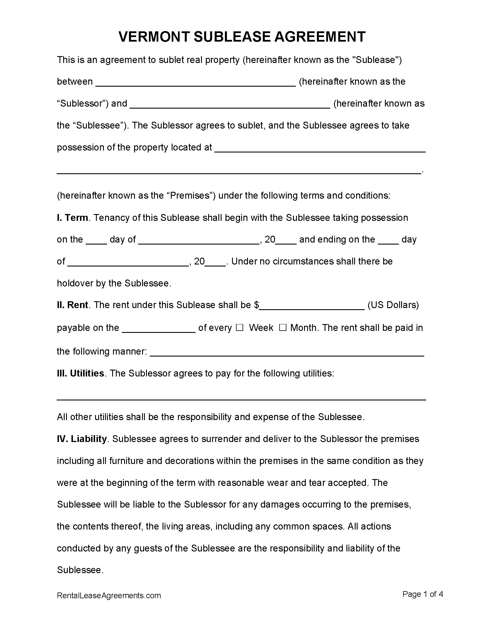 Free Vermont Sublease Agreement Pdf Ms Word