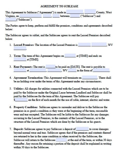 Free West Virginia Sublease Agreement – PDF Template