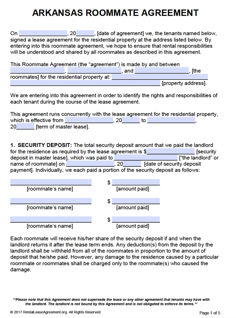 Free Arkansas Roommate Agreement Template – Roommate Lease Agreement