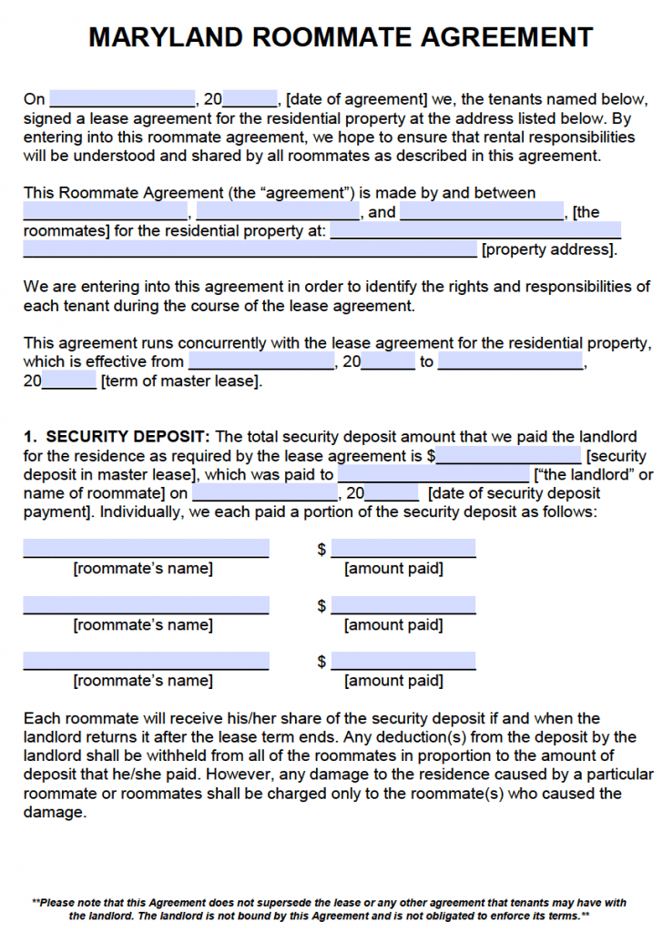 Free maryland roommate agreement template pdf word for Maryland will template