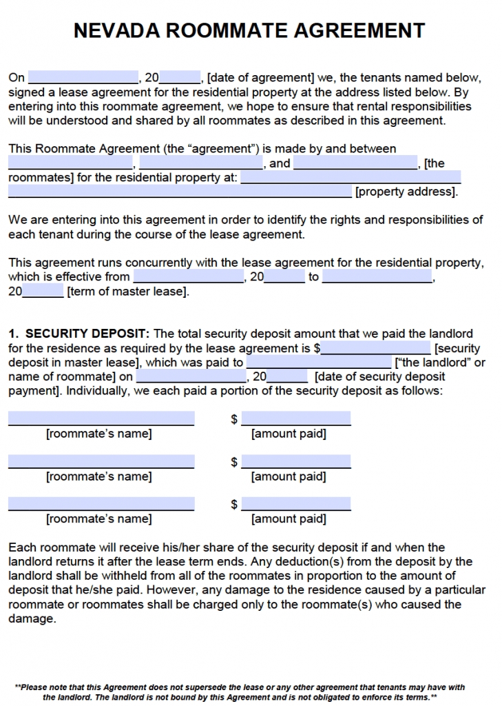 Free Nevada Roommate Agreement Template Pdf Word