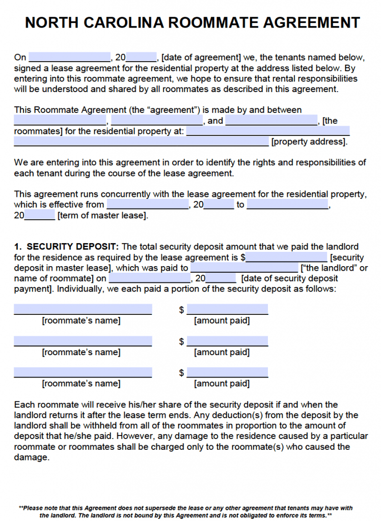 Free North Carolina Roommate Agreement Template Pdf Word