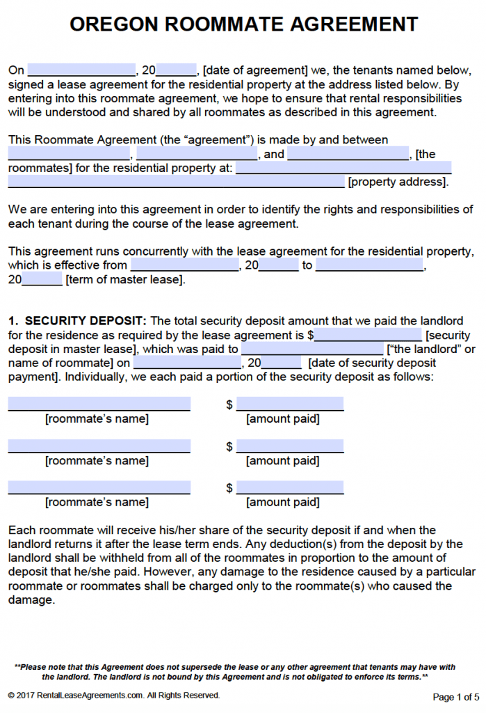 Free Oregon Roommate Agreement Template Pdf Word