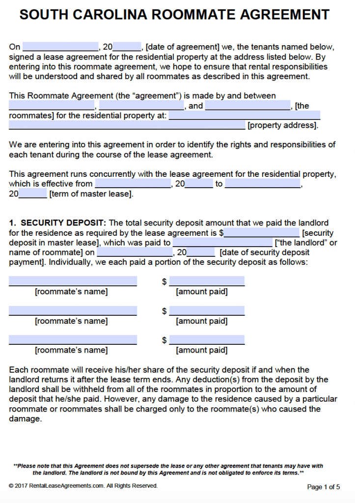 Free south carolina roommate agreement template pdf word adobe pdf ms word cx platinumwayz