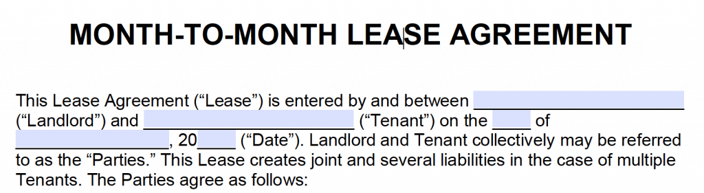 Free month to month rental agreements pdf and word templates step 2 landlord and tenant information yadclub Choice Image