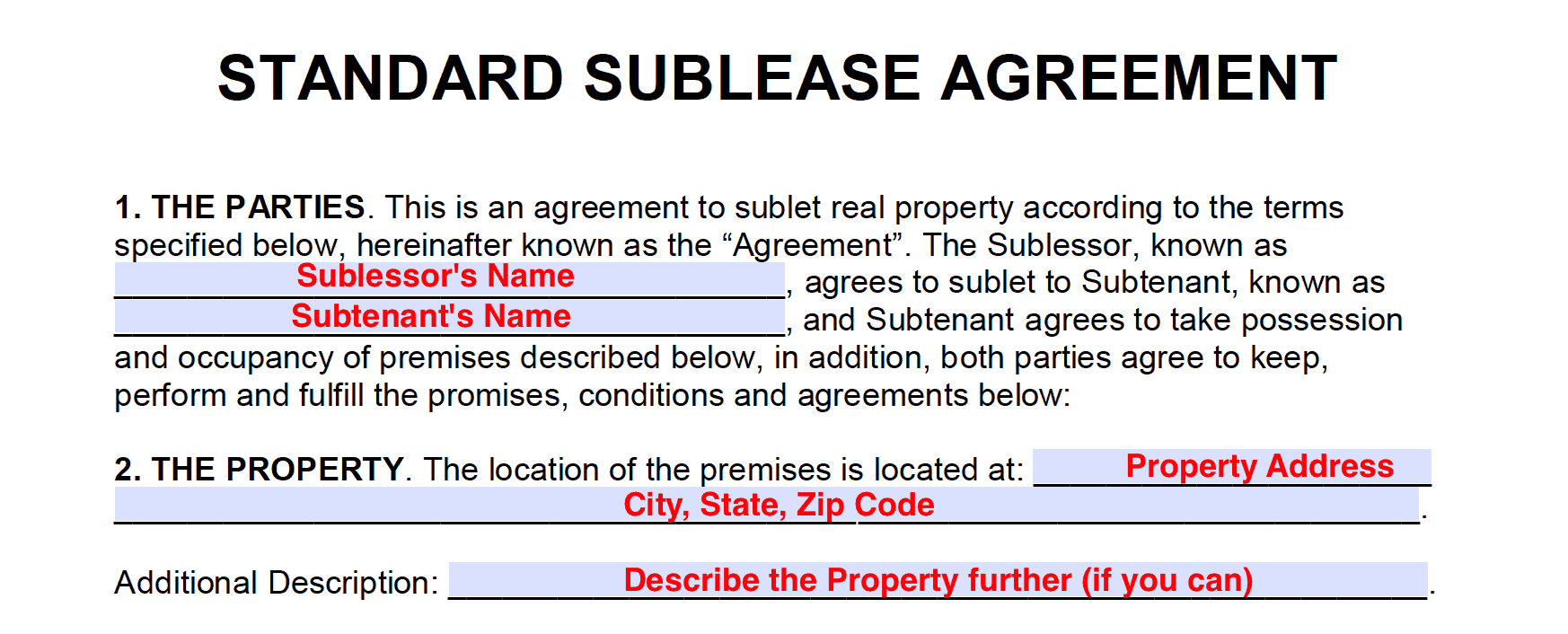 Free Sublease Agreement Templates PDF And Word Docx - Sublease agreement template word